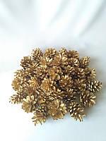 Шишка сосновая под золото маленькая Упаковка 50 шт.