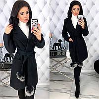 Женское кашемировое пальто с натуральным мехом на поясе с 42 по 48 рр