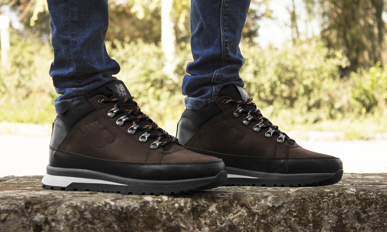 Ботинки мужские зимние New Balance 754, коричневые, кроссовки натуральная кожа, шерстяной мех, нью баланс