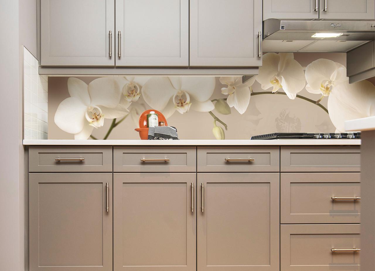 """Скинали на кухню Zatarga """"Орхидея беж"""" 600х2500 мм бежевый виниловая 3Д наклейка кухонный фартук самоклеящаяся"""
