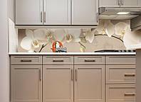 """Скинали на кухню Zatarga """"Орхидея беж"""" 600х2500 мм бежевый виниловая 3Д наклейка кухонный фартук самоклеящаяся, фото 1"""