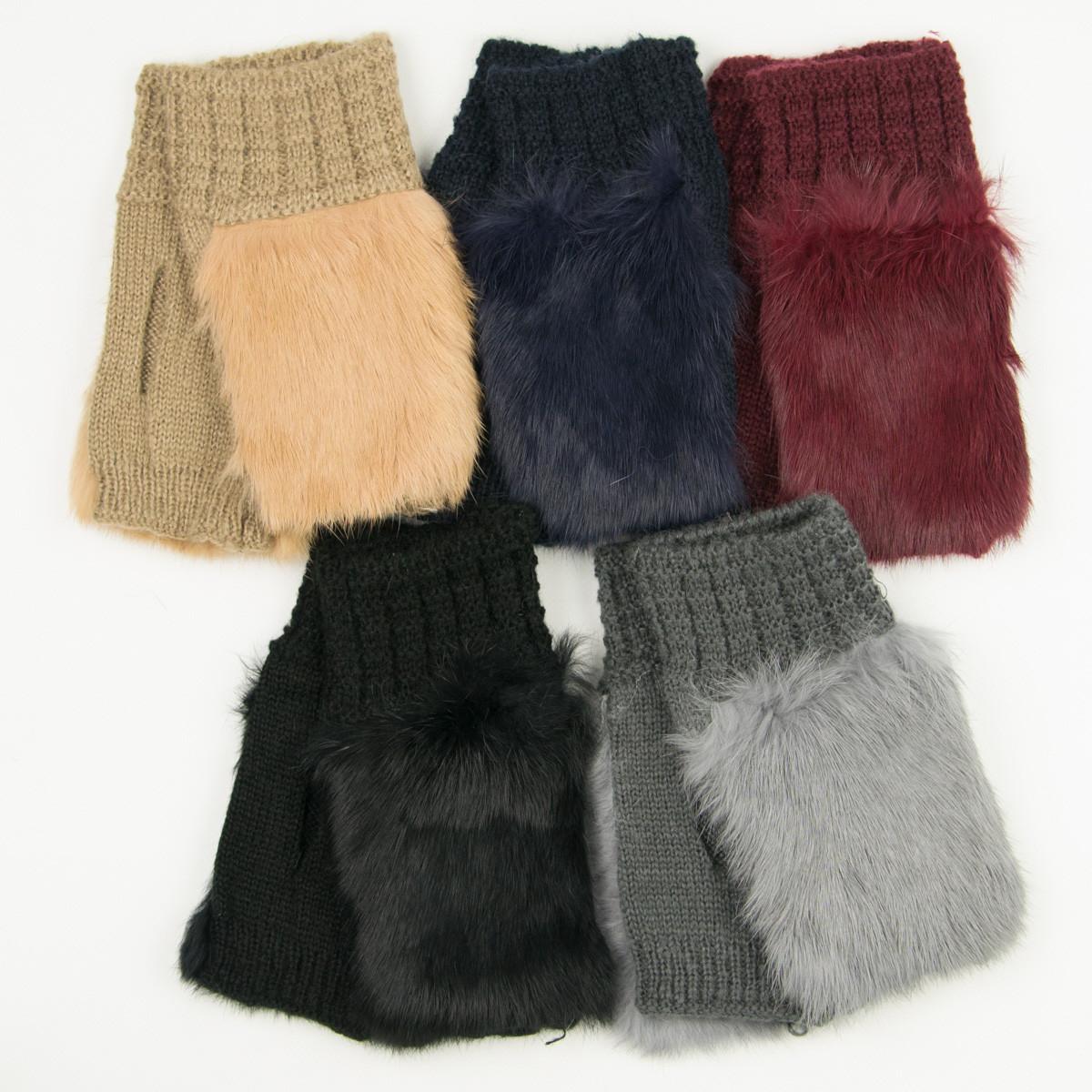 Оптом текстильные женские вязаные митенки с натуральным мехом № 19-21-4