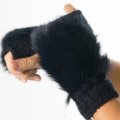 Оптом текстильные женские вязаные митенки с натуральным мехом № 19-21-4, фото 3