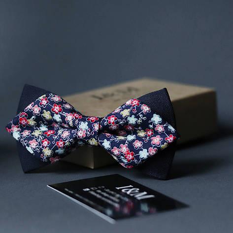 Краватка-метелик I&M Craft з гострими кінцями синій в квіточки (100160N), фото 2
