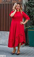 Батальное нарядное платье с вставками гипюра  337