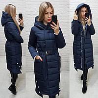 Теплое зимнее пальто,темно-синее с белым, ткань плащевка, арт.М 032