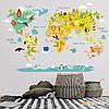 Вінілова наклейка Дитяча карта світу з тваринами (наклейки для дитячого садка) матова 1600х1070 мм