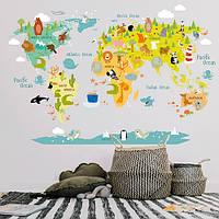 Вінілова наклейка Дитяча карта світу з тваринами (наклейки для дитячого садка) матова 1600х1070 мм, фото 1