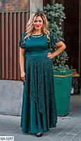 Батальное шелковое платье с вставками гипюра  338