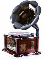 Ретро проигрыватель и радио Daklin Синатра Вишня (11104-Т06),натуральное дерево,(Винил/FM/MP3/AUX/USB/СD)