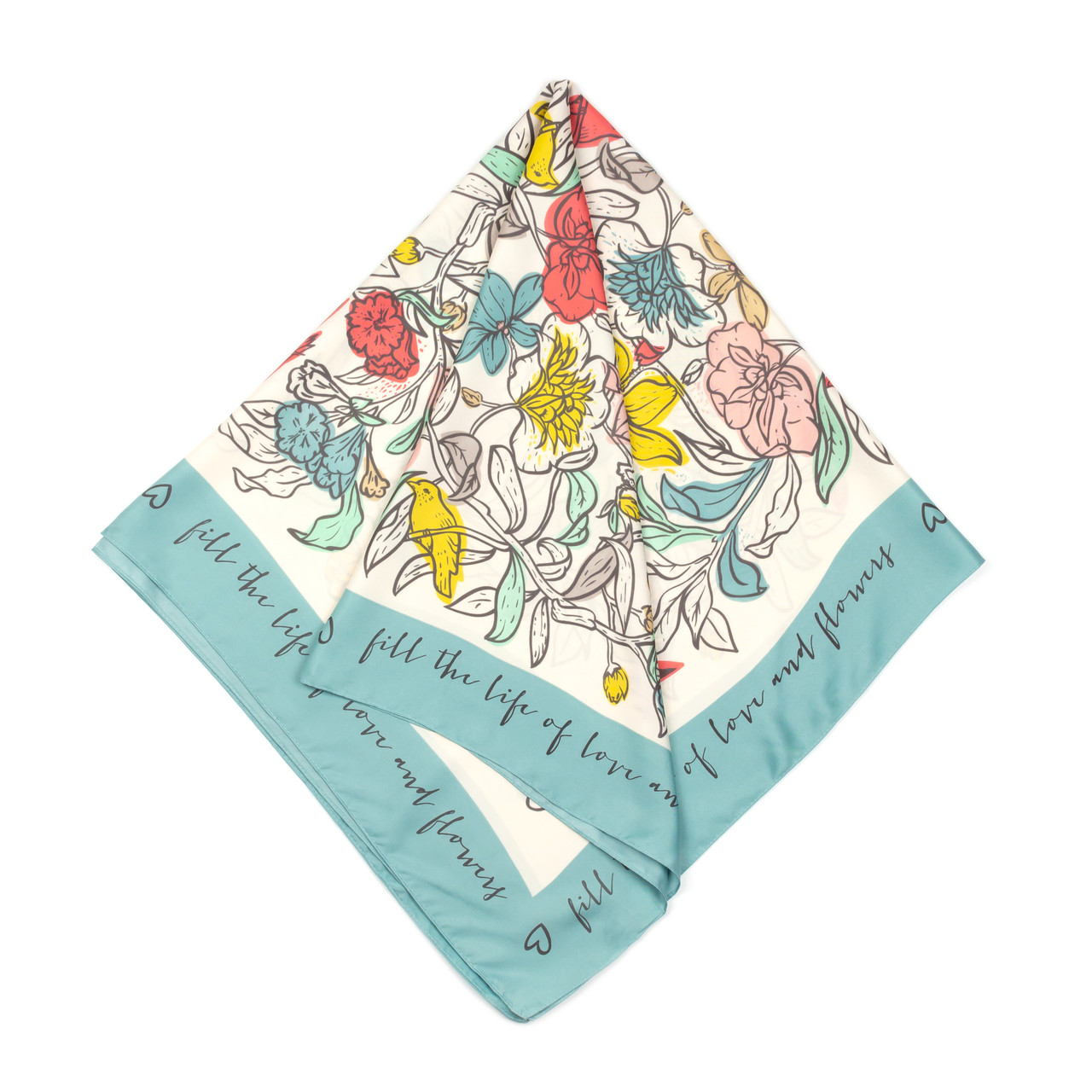 Платок большой из шелка голубой (Ш-512-3)