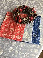 Новогоднее кухонное полотенце вафельное Снежинки синий 45/60 см