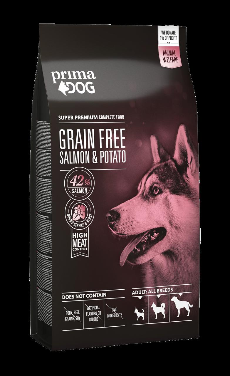 Сухий беззерновий корм PrimaDog лосось з картоплею для дорослих собак усіх порід