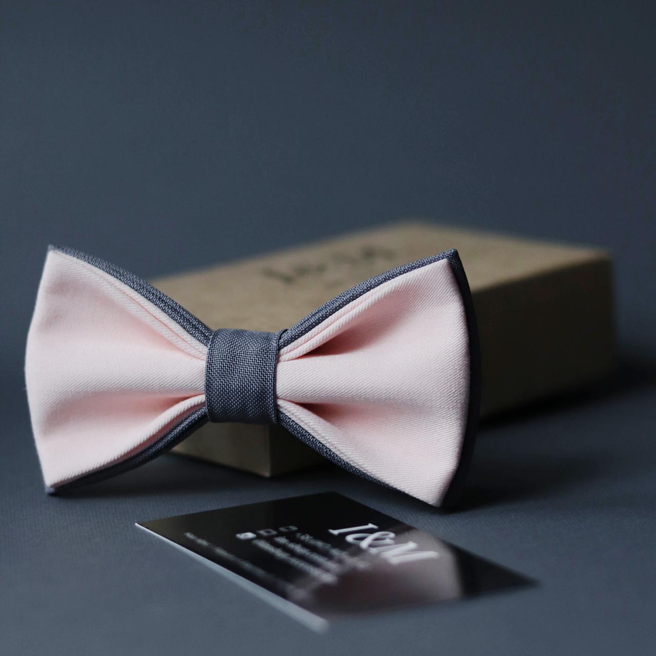 Галстук-бабочка I&M Craft двухцветный светло-розовый с серым (010627)