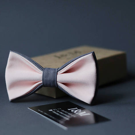 Краватка-метелик I&M Craft двоколірний світло-рожевий з сірим (010627), фото 2