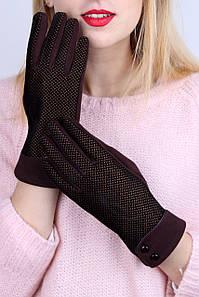 Перчатки FAMO Женские перчатки трикотажные сенсорные Веста шоколадные One size (PER1822) #L/A