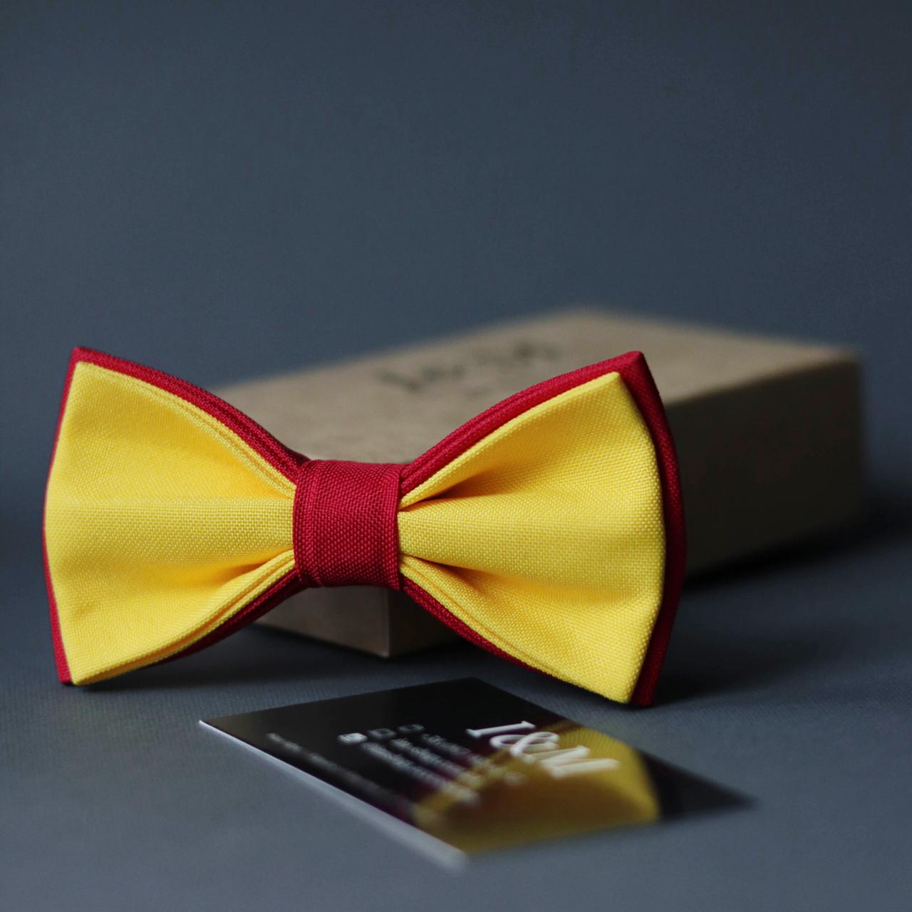 Галстук-бабочка I&M Craft двухцветный желтый с красным (010630)
