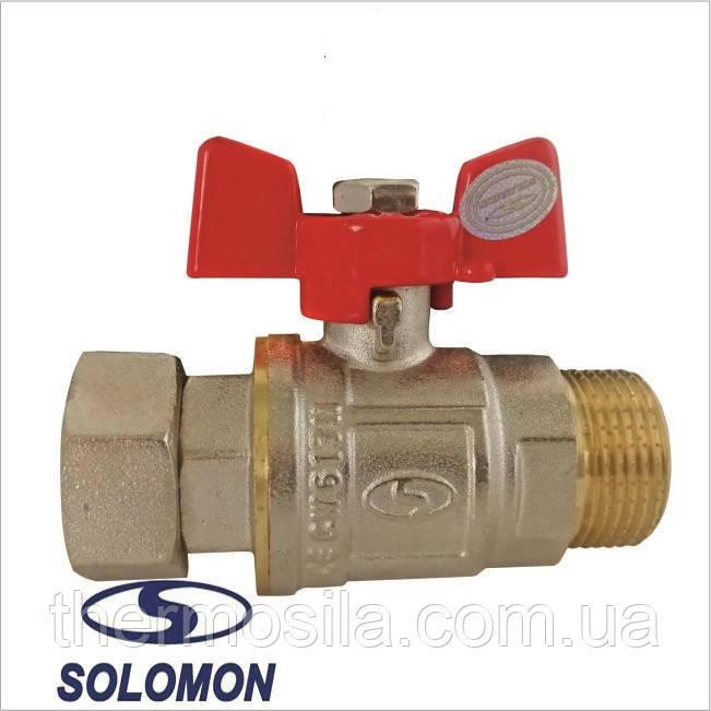 Кран прямой с накидной гайкой 3/4 НВ д/подключения газового котла SOLOMON PN40  ART.160406