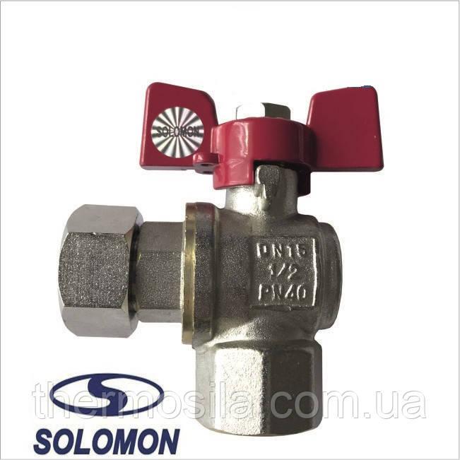 Кран угловой с нак.гайкой 1/2 НВ д/подкл.газового котла SOLOMON PN40 NEW ART.160402