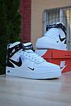 Чоловічі зимові кросівки Nike Air Force 1 Mid LV8 (біло-чорні), фото 3