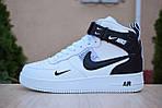 Чоловічі зимові кросівки Nike Air Force 1 Mid LV8 (біло-чорні), фото 7