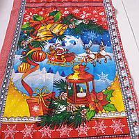 Вафельна тканина новорічна з Дідом Морозом і оленями, ширина 50 см
