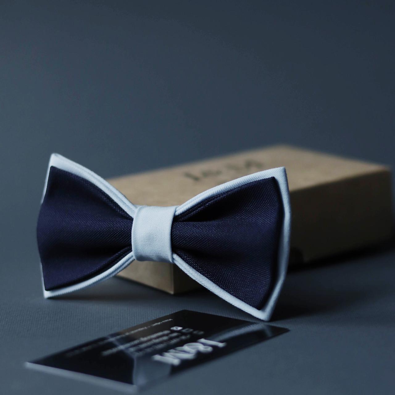 Галстук-бабочка I&M Craft двухцветный синий с голубым (010632)