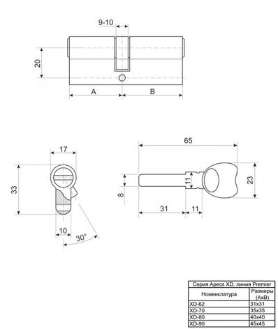 Цилиндр APECS XD-90-C01-S, фото 2