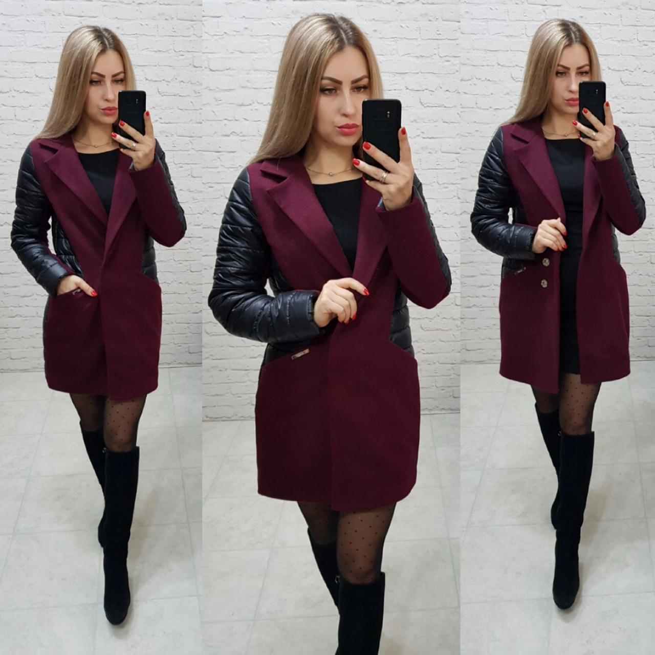 Пальто, арт 821/2, бордо с черными вставками