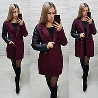 Пальто, арт 821/2, бордо с черными вставками, фото 1