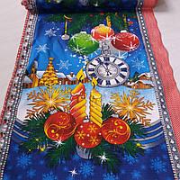 Вафельная ткань новогодняя с часами и ёлочными шарами, ширина 50 см
