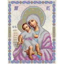 НВП-003-4 Богородица Милующая. Схема для частичной вышивки иконы бисером