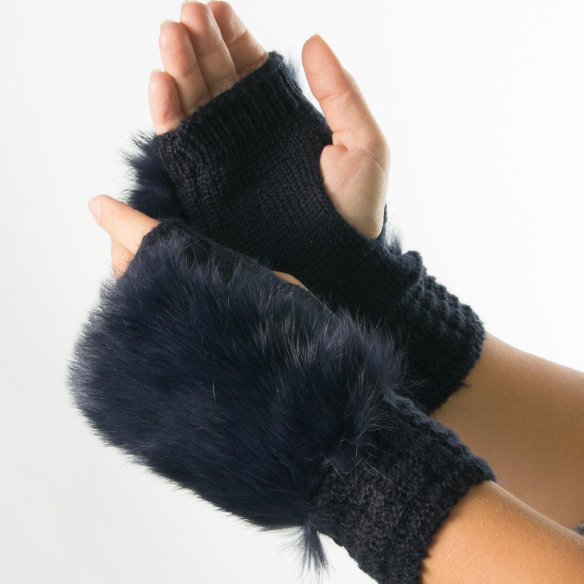Текстильные женские вязаные митенки с натуральным мехом № 19-21-4-1 синий