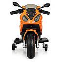 Дитячий електромобіль Мотоцикл M 4103-7, BMW, світло коліс, помаранчевий, фото 4