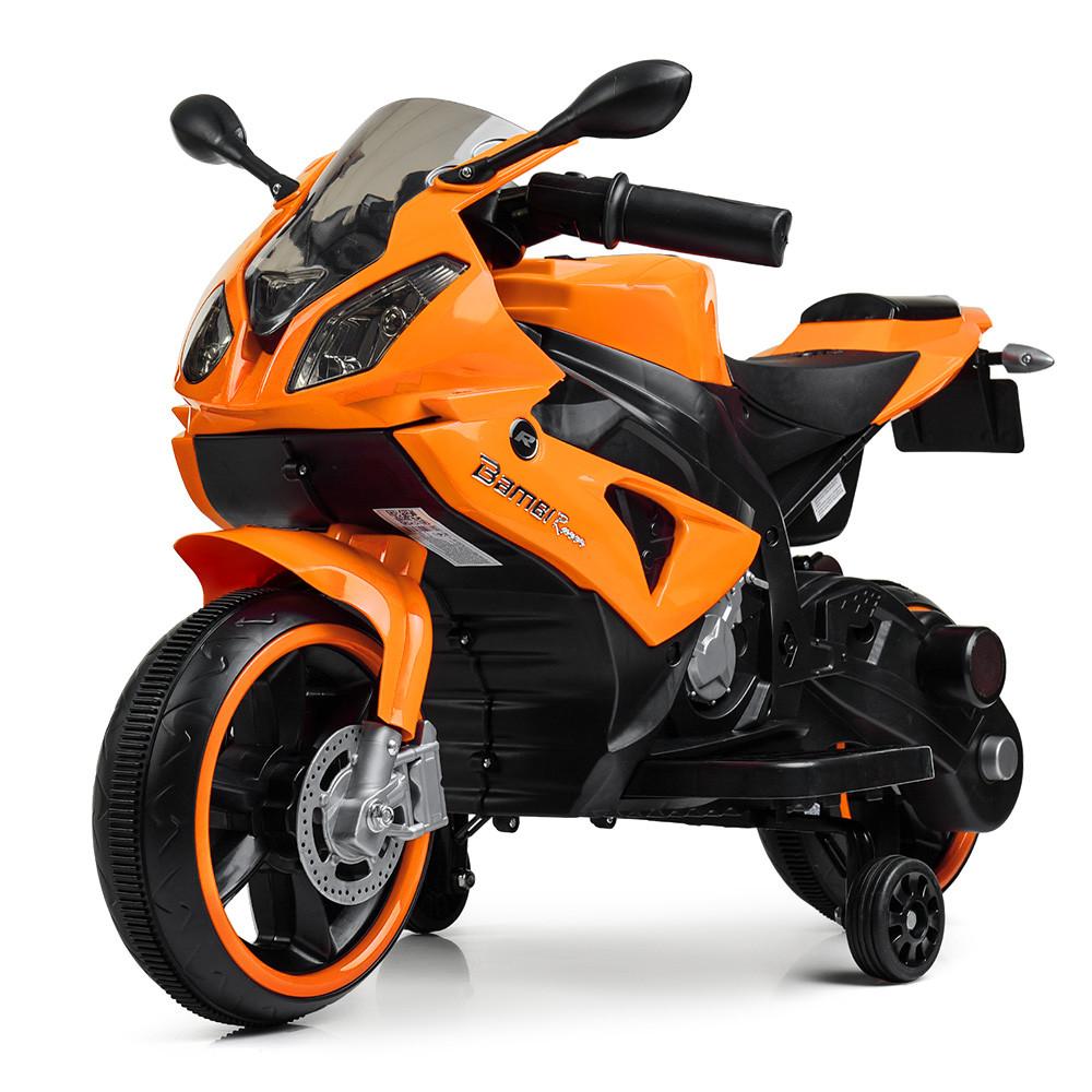 Дитячий електромобіль Мотоцикл M 4103-7, BMW, світло коліс, помаранчевий