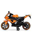 Дитячий електромобіль Мотоцикл M 4103-7, BMW, світло коліс, помаранчевий, фото 2