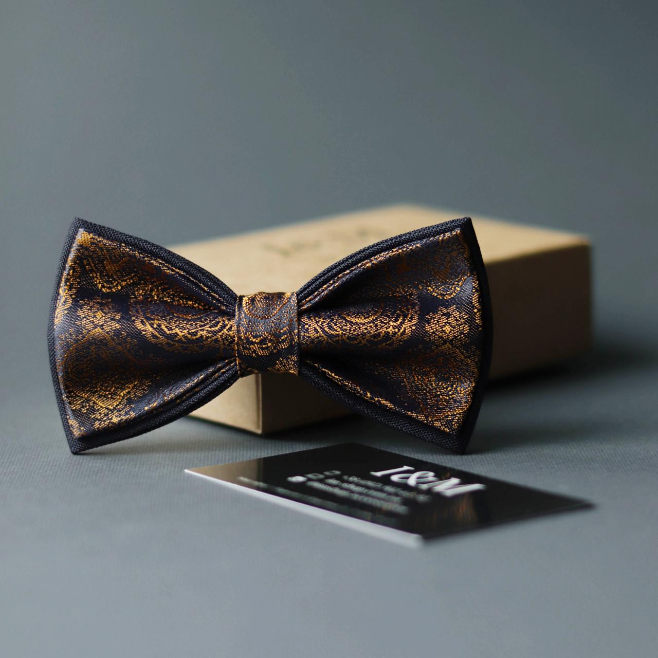 Галстук-бабочка I&M Craft золотой с синим (010304)