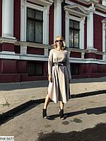 Красивое свободное трикотажное платье с двухсторонним поясом арт 1059