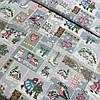 Ткань рогожка новогодняя с домиками, варежками, коньками на сером фоне, ширина 150 см