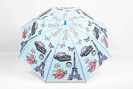Дитячі парасолі FAMO Парасолька дитячий Париж блакитний Діаметр купола 114.0(см)/ Довжина спиці 48.0(см)/ Довжина в складеному вигляді 66.0(см) (RST040) #L/A
