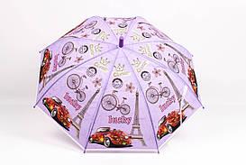 Дитячі парасолі FAMO Парасолька дитячий Париж ліловий Діаметр купола 114.0(см)/ Довжина спиці 48.0(см)/ Довжина в складеному вигляді 66.0(см) (RST040) #L/A