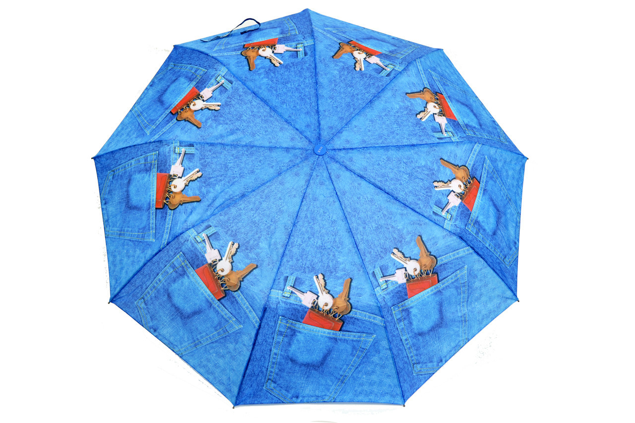 Зонт FAMO Джинсовый ключи Диаметр купола 96.0(см)/ Длина спицы 55.0(см)/ Длина в сложенном виде 31.0(см) (471) #L/A