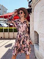 Платье с принтом, ткань: креп-костюмка. Размер: С(42-44)М(44-46). Разные цвета (6383)