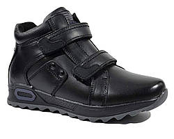Зимние ботинки чёрного цвета из натуральной кожи для мальчика Kangfu 34 р