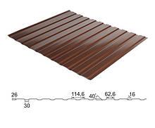 Профнастил стеновой 0,45 мм С-10 RAL 8017 коричневый глянец - Китай