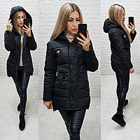 Куртка парку зима, арт 204, чорний, фото 1