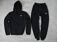 Мужской спортивный костюм Nike черный (ЗИМА) с начесом , толстовка маленькая эмблема, штаны реплика