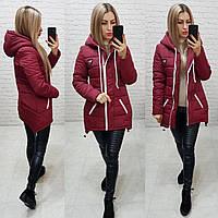 Куртка парку зима, арт 204, марсала, фото 1