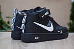 Чоловічі зимові кросівки Nike Air Force 1 Mid LV8 (чорно-білі), фото 2