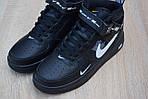 Чоловічі зимові кросівки Nike Air Force 1 Mid LV8 (чорно-білі), фото 6